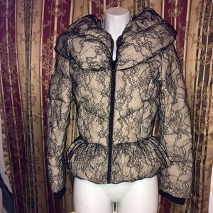 bebe Lace Overlay Puffer Coat Size Small
